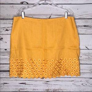 Michael Kors 16 Yellow Floral Eyelet Linen Skirt